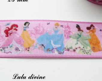 Grosgrain Pink Ribbon - Princess Disney - standing 25 mm sold by 50 cm