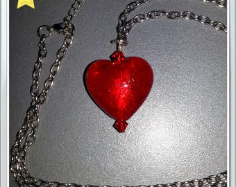 Red Swarovski Heart Necklace with silver chain