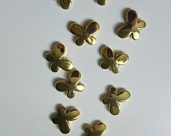 10 gold plated 16 mm Butterfly beads