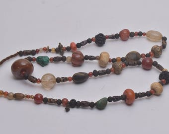 Traditional NAGA Necklace with Handmade Used Multicolor Glass Beads and Resin Pendants, Ethnic Jewelry, Folk Art