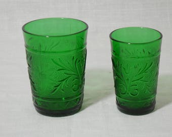 Forest Green Green Sandwich Glass Tumbler Set by Hocking Glass