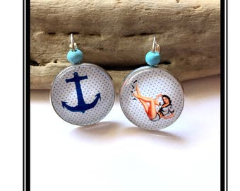 """Earrings original and funny,""""Pin Up""""bow, black, Polka, funny, Rockabilly vintage"""