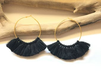 Elegant hoops & Black tassels. Large earrings, tassel pom pom pom pom earrings gold black