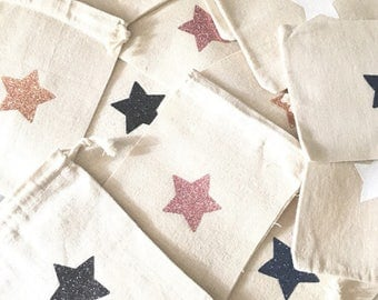 Small pocket with DrawString with sparkly Blue Star Navy