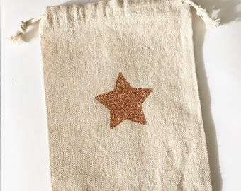 Small pocket with DrawString with sparkly Gold Star