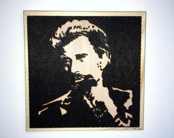 Pyrography of singer Johnny Hallyday, an original portrait of the artist