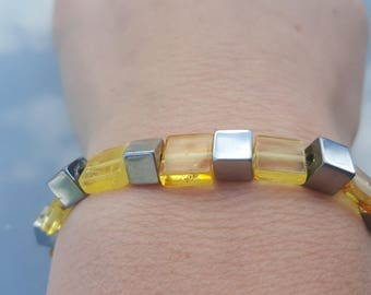Hematite and Baltic Amber bracelet