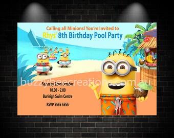 Minion Invitation, Minion Birthday Invitation, Minion Birthday Party Invitation, Minion Pool Party Birthday Party Invitation