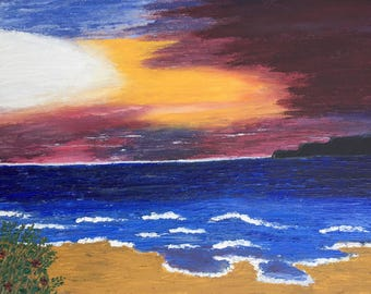Brilliant sky and beach - original textured acrylic painting