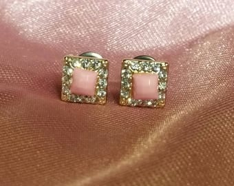 Pink and cubic zirconia square 6mm plugs
