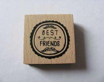 "Wooden ""Best Friends"" Scrapbooking, deco rubber stamp"
