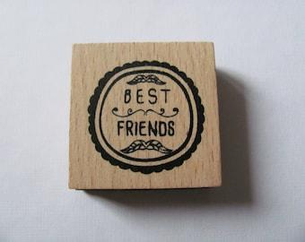 "Wooden ""Best Friends"" Scrapbooking, deco rubber stamp"