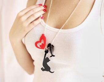 Laser Cut Necklace - Cat My Love