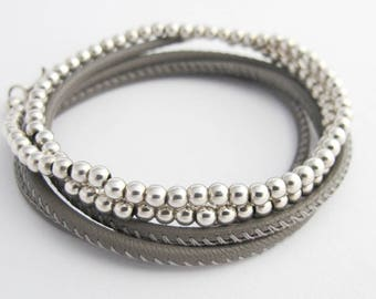 Bracelet NAPPA BALL grey taupe 925 Silver