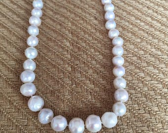 Natural Genuine Huge Nucleated Baroque Pearl Necklace  10-15mm