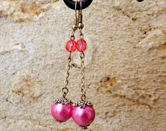 Long earrings pink glass beads