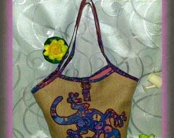 """Salamander"" burlap handbag"