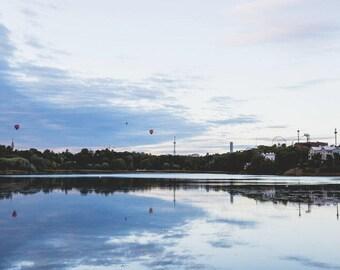 Hot Air Balloons At Töölönlahti Bay Photo Print (Various Sizes)