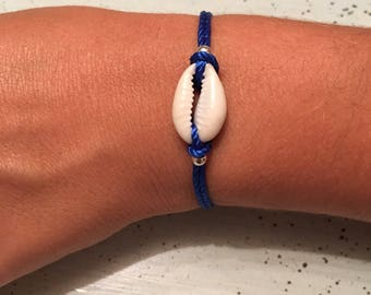 Blue cord and shell bracelet