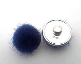 Navy Blue fur Pom Pom snap