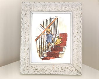 Winnie the Pooh Vintage Book Illustration. Traditional Image of Christopher Robin Dragging Teddy Downstairs. Nursery Print for Framing