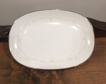Vintage Noritake Whitebrook 6441 China Large Oval Serving Platter
