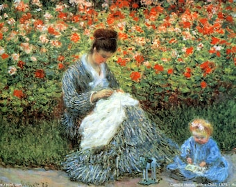 STRONG & rigid WASHABLE ORIGINAL TABLE SET - Impressionist painters - Claude Monet - Camille Monet with a child.