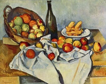 ORIGINAL design, durable and WASHABLE PLACEMAT - Cezanne - still life - basket of apples - classic.