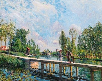SET of TABLE, plastic, washable and durable - Alfred Sisley - the Thames with Hampton Church - classic.