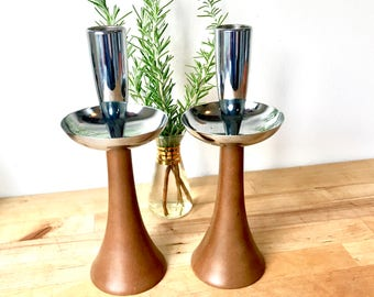Danish MidCentury Turned Wood and Chrome Candle Holders - Vintage
