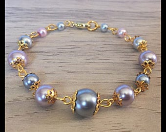 Purple and grey glass beaded bracelet-