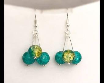 Cracked glass beads earrings