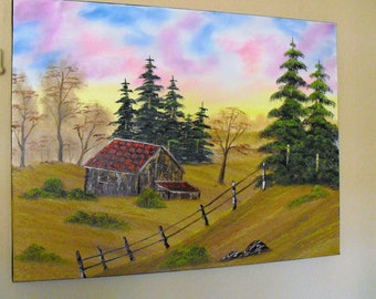 Big oil painting-after Bob Ross-landscape painting canvas Hut sunset