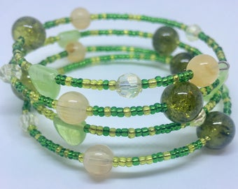 Green seed bead glass pearl and crystal wrap memory bracelet