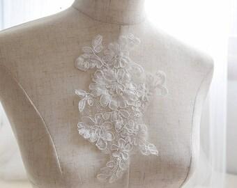 Alencon lace wedding ivory patchwork applique x 2