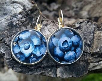 Blueberry drop earrings handmade
