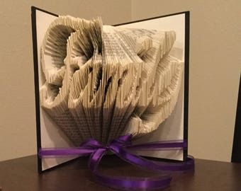 Folded Paper Book Art Date Name or Custom Word Gift