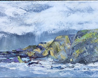 Hartland Point. Rain. Original acrylic painting
