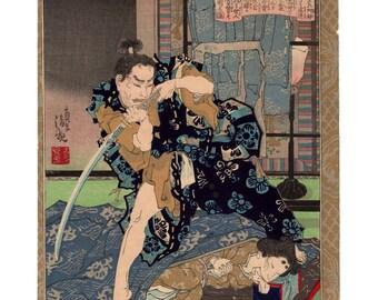 The tragic death of Kesa Gozen (Kobayashi Kiyochika) N.1 ukiyo-e woodblock print