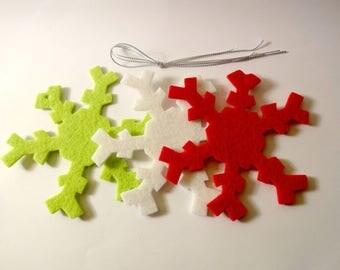 3 Christmas snowflake ornaments - embellishments - felt Christmas tree
