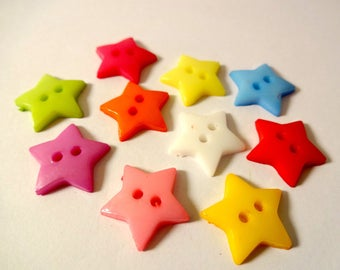 Lot 10 buttons colored stars - scrapbooking - embellishment - sewing