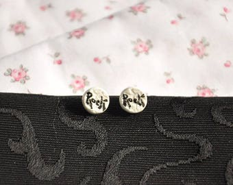 Earrings black/off-white porcelain Limoges