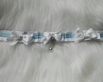 White Sky Blue Kitten Play Collar Choker