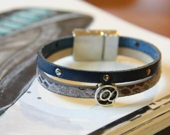 Leather strap for geek girl blue and gray