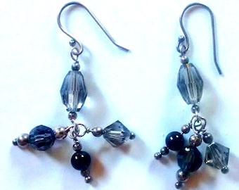 Obsidian Swarovski Earrings