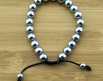 Silver Hematite Yoga Beads Bracelet | 8mm | Yoga Jewelry | Meditation Bracelet | Buddhist Mala Bracelet | Free Shipping