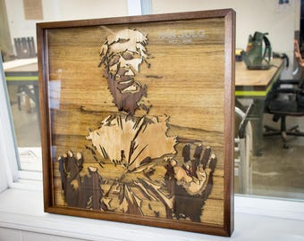 Han Solo in Carbonite, in wood. Beautiful handmade recreation.