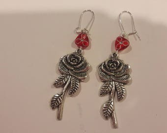 Silver rose charms with red beaded earrings