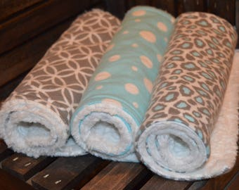 Baby Burp Cloth - Chenille - Flannel - Set of 3