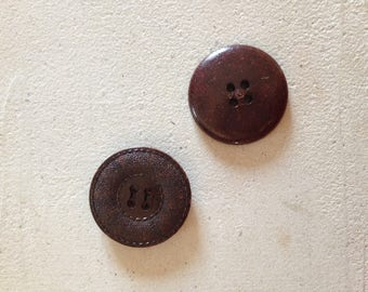 Pair of original Brown buttons!